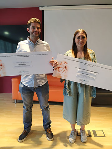 Dos infermers interns residents de Pediatria premiats pel COIB